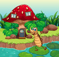 A cockroach dancing in front of a mushroom house illustration Stock Photography