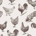 Cocks and hens vector pattern of the various Stock Photos