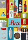 Cocktail bar background. Essential tools, glassware, mixers and garnishes. Royalty Free Stock Photo