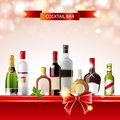 Cocktail bar bright background with alcohol bottles Stock Image