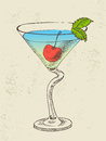 Cocktail with blue curacao hand drawn illustration of and cherry Stock Photo