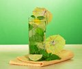 Cocktail from a citrus, spearmint and napkin Royalty Free Stock Photo