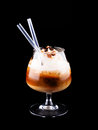 Cocktail with coffee and whipped cream isolated on black Royalty Free Stock Photography