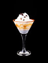 Cocktail with coffee and whipped cream isolated on black Stock Photography