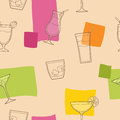 Cocktail glass drink seamless pattern graphic art pink yellow green orange color  illustration Royalty Free Stock Photo