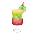 Cocktail glass garnished with a slice of lime Royalty Free Stock Images