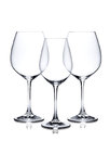Cocktail glass set empty red and white wine glasses isolated on background Stock Image