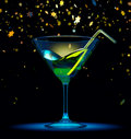 Cocktail glass with stars confetti Royalty Free Stock Image