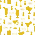 Cocktail glasses seamless vector pattern. Teal drinking glasses on a white background with Cheers lettering, pineapple, and