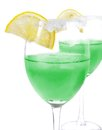 Cocktail green cocktails with the lemon Stock Images
