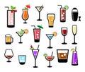 Cocktail icon set Royalty Free Stock Photo