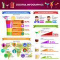 Cocktail infographics set with drinks collection and charts vector illustration Royalty Free Stock Images