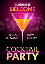 Cocktail Invitation design poster. Cocktail Party drink banner card or flyer template vector Royalty Free Stock Photo