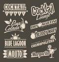Cocktail lounge retro menu design concept