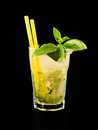 Cocktail mojito isolated on black Stock Photos