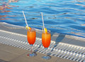 Cocktail near the swimming pool photo in hot day Stock Photo