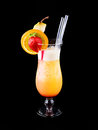 Cocktail orange crush isolated on black Stock Images