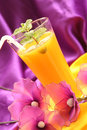 Cocktail with orange juice mint on colorful background Stock Photo