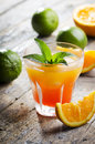 Cocktail orange on rustic wooden table Stock Photo
