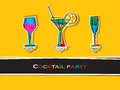 Cocktail party card pop art Royalty Free Stock Photo
