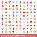 100 cocktail party icons set, cartoon style