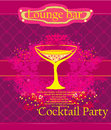 Cocktail party invitation card illustration Royalty Free Stock Image