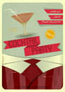 Cocktail party retro card invitation to in vintage style illustration Royalty Free Stock Images