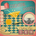 Cocktail party retro card invitation to in vintage style square format illustration Stock Photos