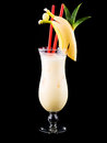 Cocktail pina colada isolated on black Royalty Free Stock Photo