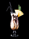 Cocktail pina colada isolated on black Stock Photos