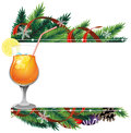 Cocktail and pine branches orange with lemon christmas tree with ornaments Royalty Free Stock Photo