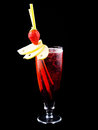 Cocktail red fresh fruit isolated on black Stock Photos