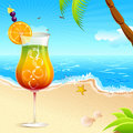 Cocktail on Sea Beach Royalty Free Stock Photo