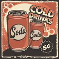 Cold Soft Drink Signage Poster Retro Rustic Classic Royalty Free Stock Photo