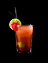 Cocktail strawberry i isolated on black Stock Images