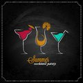 Cocktail summer party chalk design menu background eps Royalty Free Stock Photo