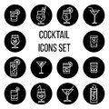 Cocktail thin line vector icons set in black and white