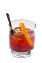 Cocktail vodka glass of orange with ice cubes and Royalty Free Stock Photos