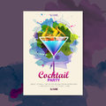 Cocktail watercolor disco poster Royalty Free Stock Photo