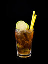 Cocktail whiskey cola isolated on black Royalty Free Stock Image