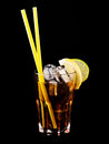 Cocktail whiskey cola isolated on black Stock Photos