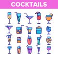 stock image of  Cocktails, Alcohol and Soft Drinks Linear Icons Set