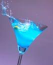 Cocktails blue splash Royalty Free Stock Photo