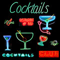 Cocktails Collage Neon Sign Stock Photos