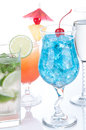 Cocktails drinks beverages Blue lagoon, mojito, tropical Martini Royalty Free Stock Photo