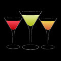 Cocktails glasses with different fruit Royalty Free Stock Photos