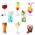 Cocktails highly detailed icons Royalty Free Stock Image
