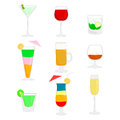 Cocktails nine variety of and alcohol drinks in different glasses Royalty Free Stock Photos