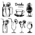 Cocktails,soft drinks and glasses for bar,restaurant,cafe menu. Hand drawn different beverages vector illustrations set. Royalty Free Stock Photo
