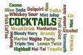 Cocktails word cloud on white background Royalty Free Stock Photography